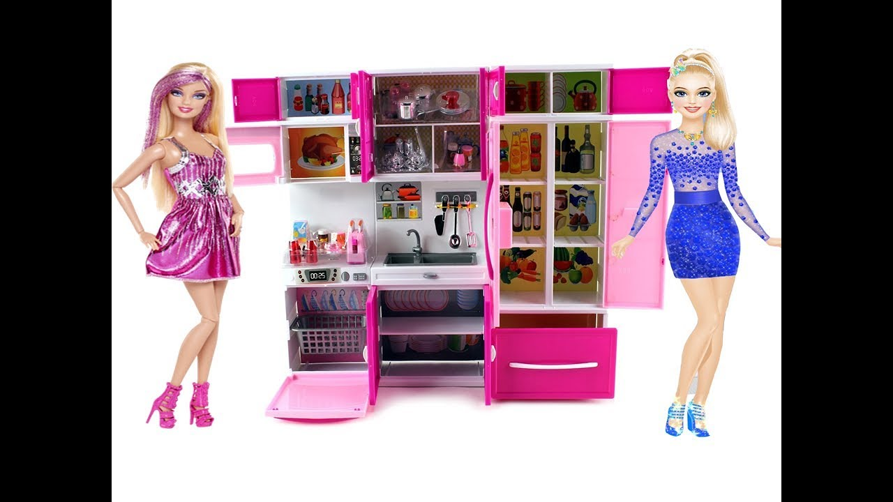 Unboxing New Barbie Kitchen Set Real Cooking Barbie Dream House