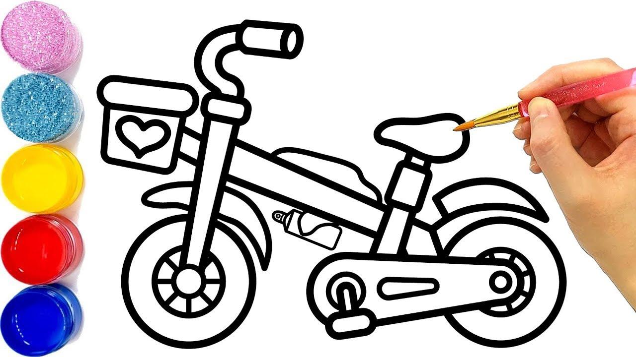 Vẽ xe đạp đơn giản và tô màu cho bé   Dạy bé vẽ   Dạy bé tô màu   Sepeda Halaman Mewarnai