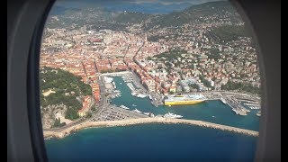 Window seat Airbus A380 awesome approach and landing at Nice Airport