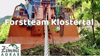 Holz schlägern mit Forstteam Klostertal/Fendt 412 mit Tiger Seilwinde/Moser Forstkrananhänger