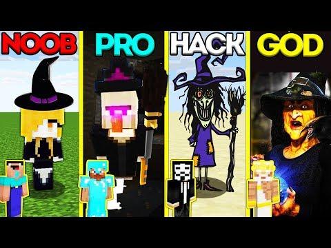 Minecraft Battle: NOOB vs PRO vs HACKER vs GOD: WITCH MUTANT EVOLUTION CHALLENGE / Animation