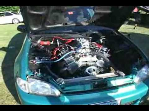 V8 engine in a civic! - YouTube