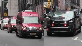 [Unmarked Dodge Ram] NYPD and NYSP escorting the FDNY and PLLFD