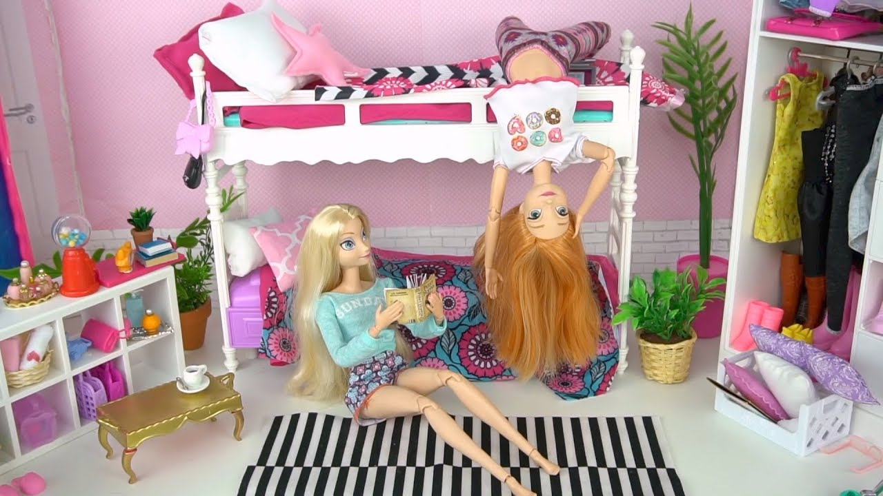 Barbie Elsa Amp Anna Bunk Beds Cleaning Morning Routine