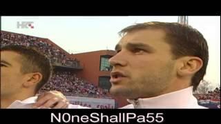 Croatia vs Serbia, National anthems, March 22nd, 2013. (Croatian tifo)