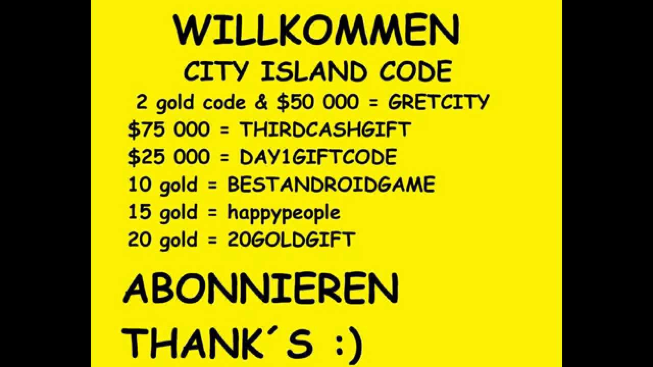 City Island  Gift Codes For Gold