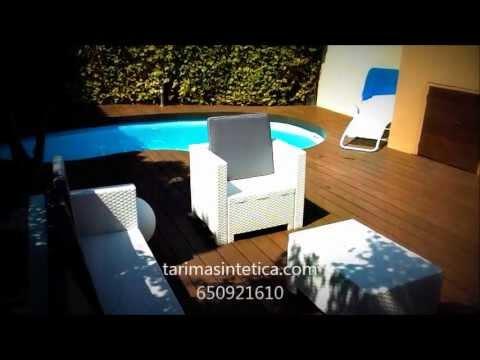 Terraza con piscina en tarima sint tica youtube for Terrazas con alberca