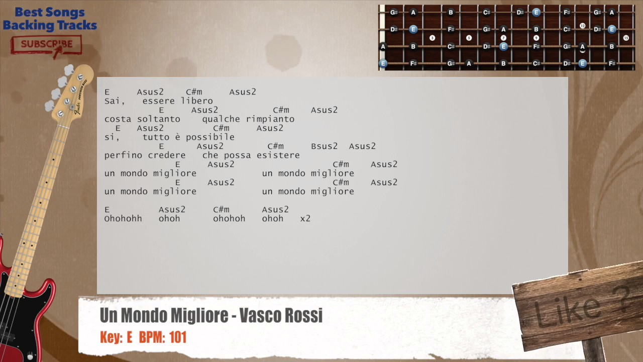Vasco Rossi Mondo Migliore Un Mondo Migliore Vasco Rossi Bass Backing Track With Chords And Lyrics