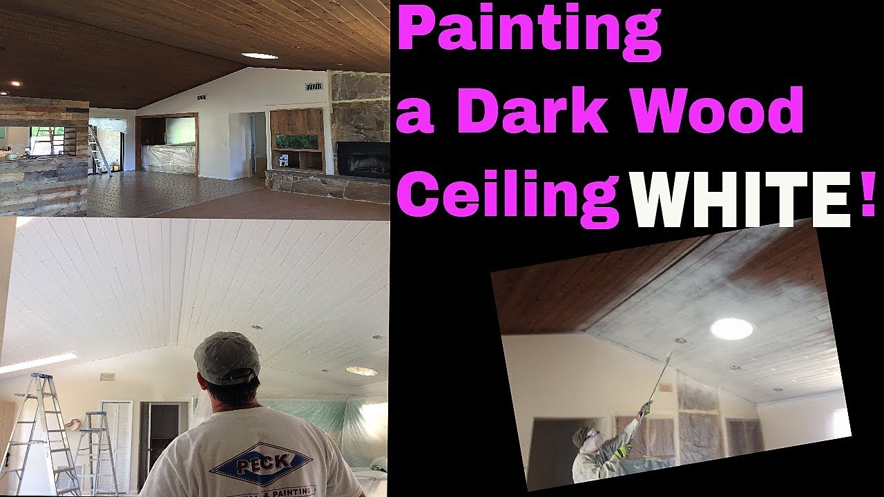 To Paint Or Not Dark Wood Ceiling How A Using Graco Airless Sprayer