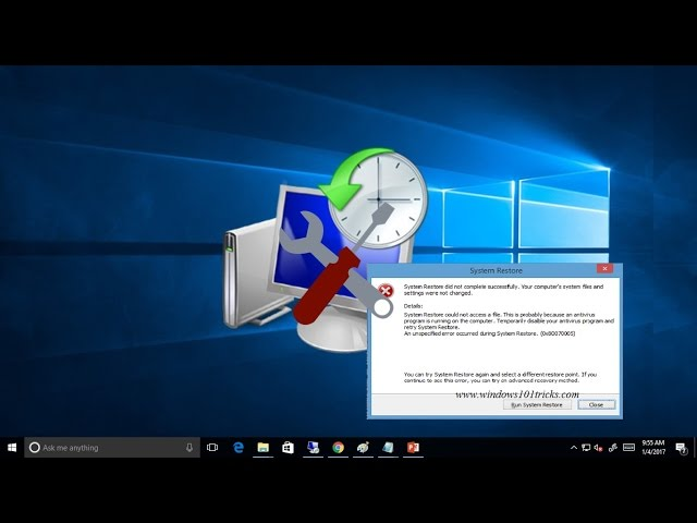 Fix System restore did not complete successfully error 0x80070005 on