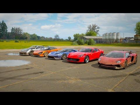 Forza Horizon 4 World's Greatest Drag Race: Aventador SV, 720s, Ford GT'17, 812,Porsche 911 GT2 RS thumbnail