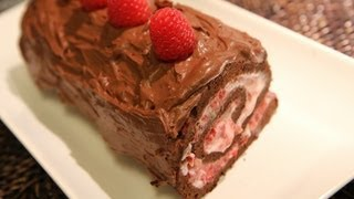 Raspberry Yogurt Chocolate Roll Recipe - Cookingwithalia - Episode 217