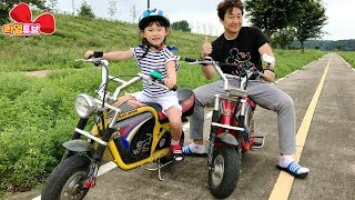 라임 오토바이 전동차를 타고 여주 금은모래 캠핑장에서 아빠와 레이싱 체험 여행을 하다! Ride car| LimeTube & Toy 라임튜브