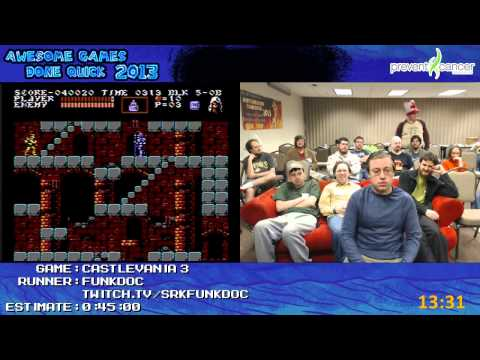 Castlevania III: Dracula's Curse - SPEED RUN in 0:30:41 by funkdoc at AGDQ 2013 [NES]