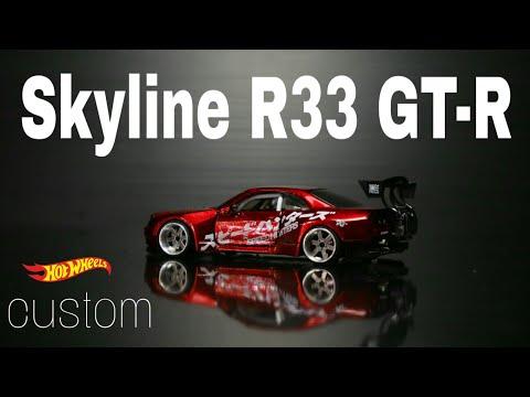 Nissan Skyline GT-R R33 drift car widebody Hot Wheels Custom