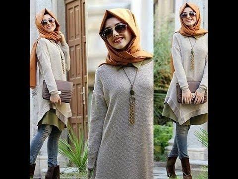 1ab6b4927db9d ملابس محجبات شتاء 2018 موضة الوان و ازياء المحجبات 2018 hijab fashion style