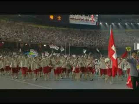Beijing Olympic Games opening ceremony of the Swiss team Adm