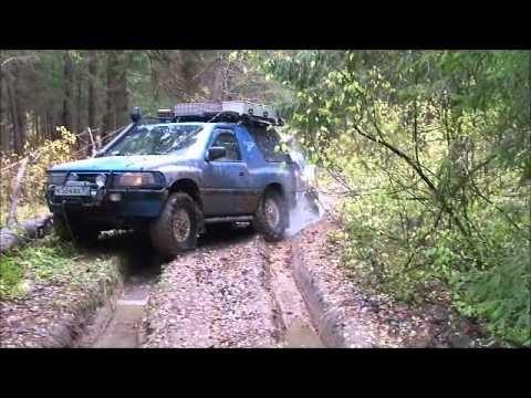 Opel Frontera with trailer in offroad.wmv