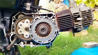 How To Change Clutch Box,Clutch Plate,Pressure Plate And Clutch Box Bearing In CD-70 Motorcycle.
