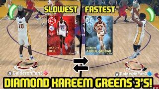 DIAMOND KAREEM DOESN'T MISS! FASTEST & SLOWEST PLAYERS SQUAD! NBA 2K18 MYTEAM GAMEPLAY