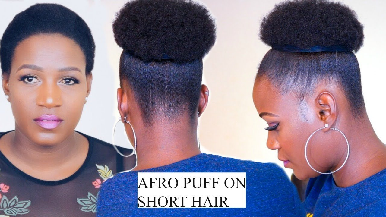 How To Quick Afro Puff On Short Hair No Extensions In 5 Minutes Youtube