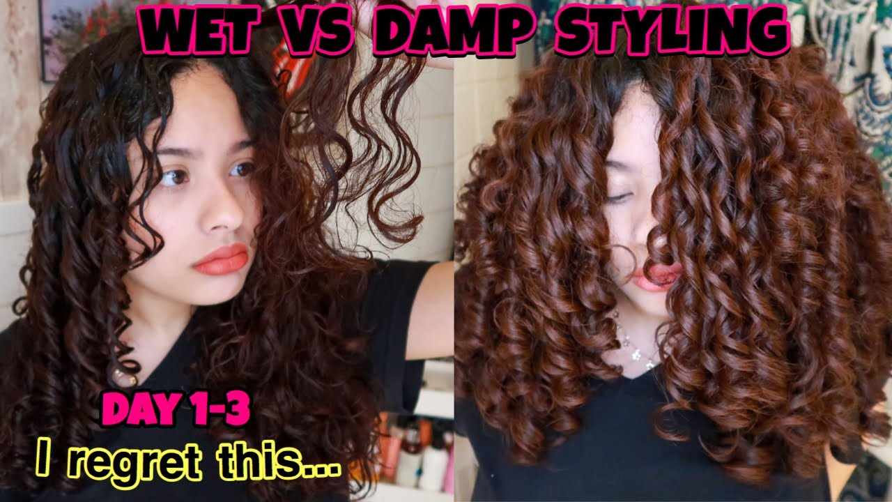 Wet Styling Vs Damp Styling Curly Hair What Gives Less Frizz More Volume What Lasts The Longest Youtube