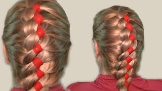 Прически на Длинные Волосы Своими Руками Видео Урок. Коса с лентой. Hairstyles for long hair
