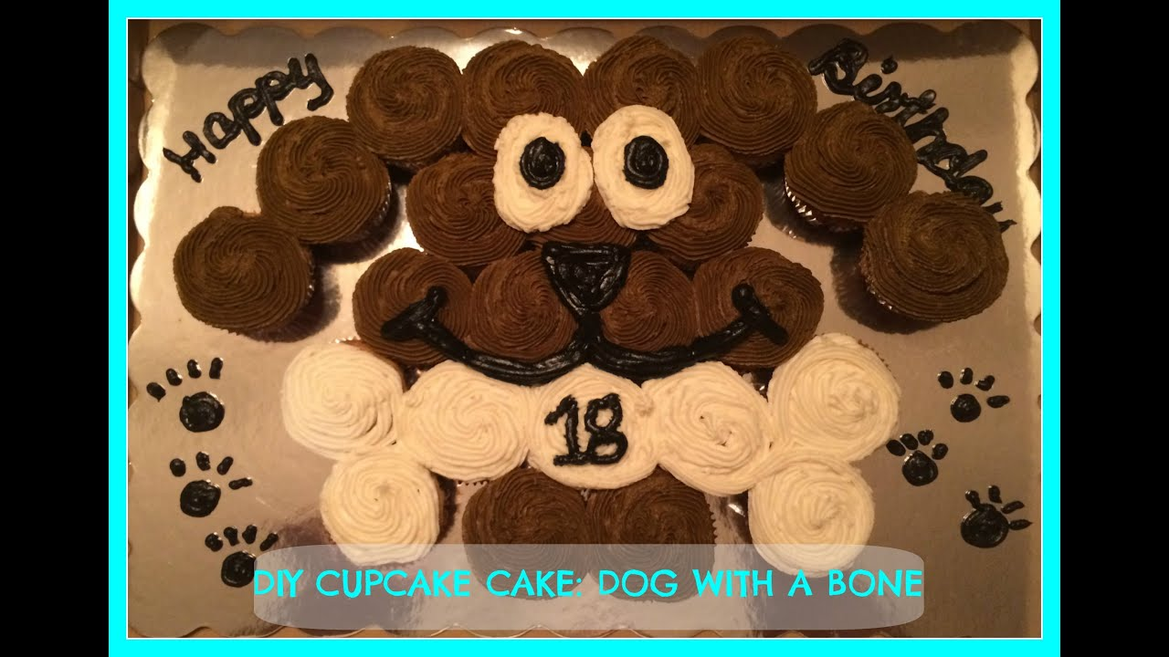 Diy Cupcake Cake Dog With A Bone Youtube