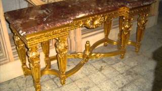 French Louis Xv Xvi Giltwood Console Table  Marble Top