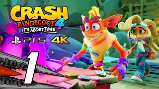 Crash Bandicoot 4: It's About Time (PS5) Gameplay Walkthrough Part 1 - No Commentary, 4K
