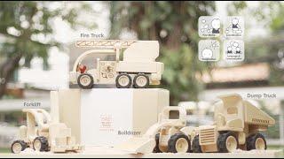 PlanToys | Vehicle Series | Fire Truck, Bulldozer, Forklift, Dump Truck