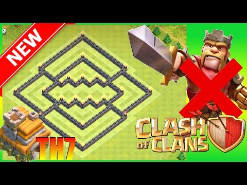 Clash Of Clans    New Th7 Trophy Base (No Barb King) No BK - Hybrid Town Hall 7 Trophy Base   CoC