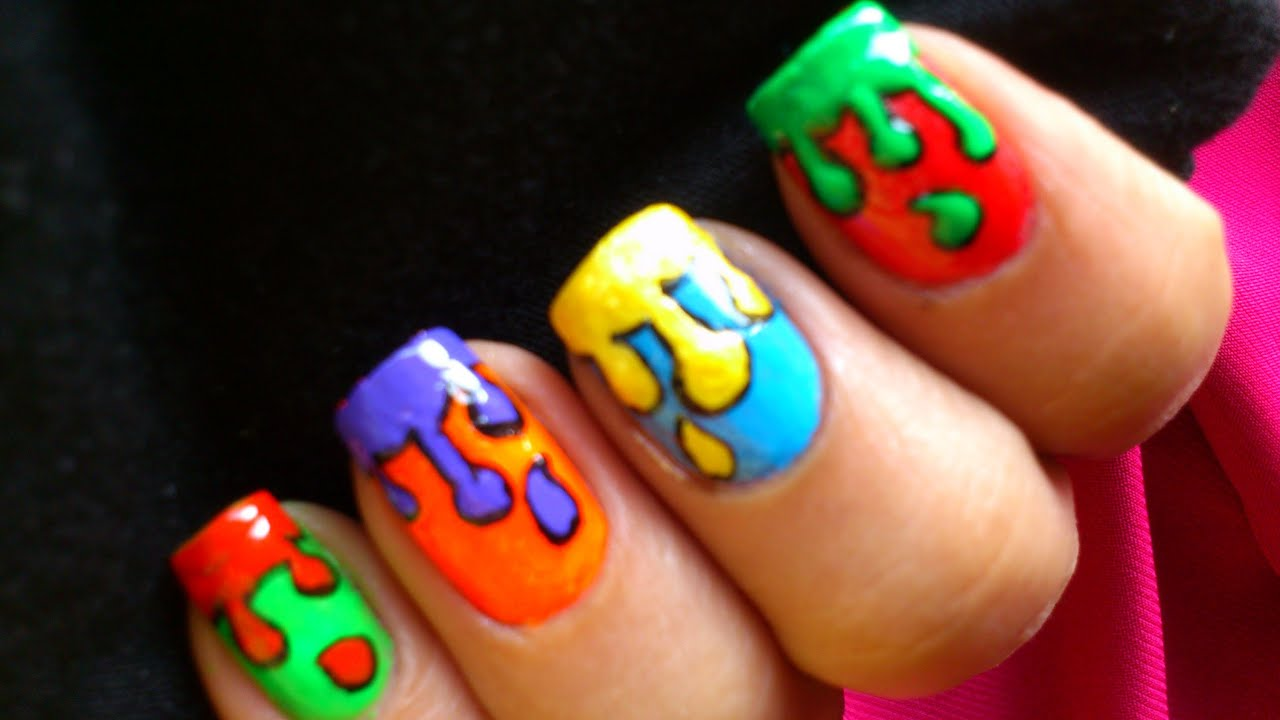 Dripping paint colorful nail art for kids youtube prinsesfo Gallery