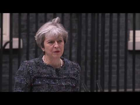 Theresa May delivers speech outside number 10 Downing Street to mark the dissolution of Parliament