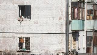 Человек ловит своего кота, выпрыгнувшего из окна на крышу магазина