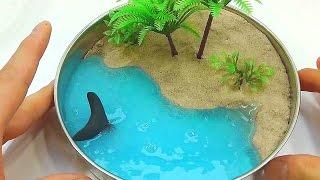 как сделать пляж с лизуном, кинетическим песком и шариками орбиз