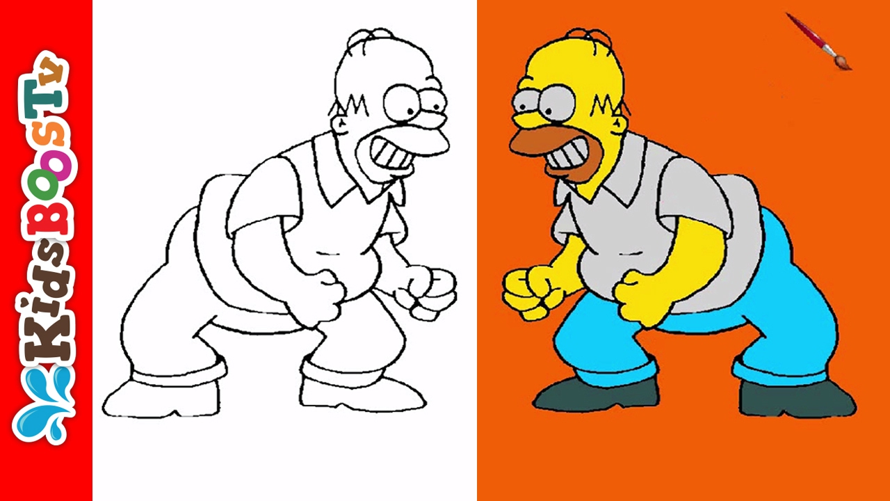 Homer Simpson Coloring Pages - Angry Simpsons Video - YouTube