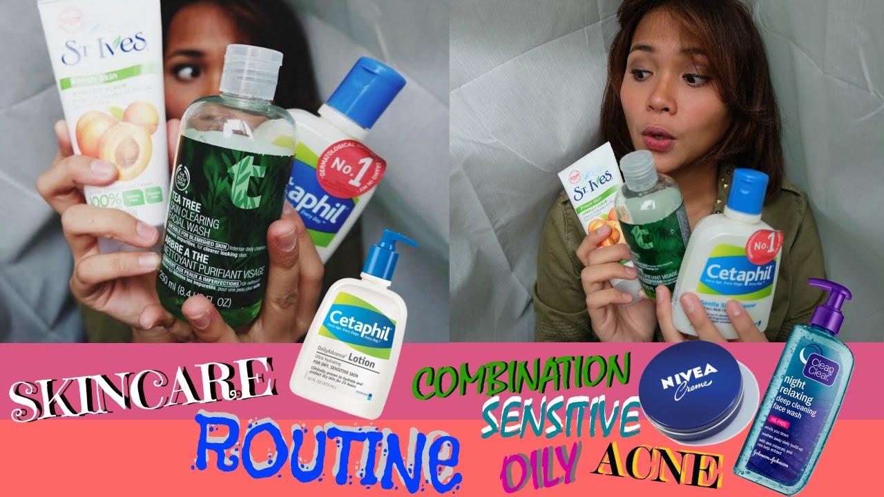 Perawatan Wajah Berminyakbruntusan Jerawat Skincare Routine For Cetaphil Gentle Skin Cleanser 250ml Sabun Cuci Muka Face Wash Combinationsensitivebahasa Youtube