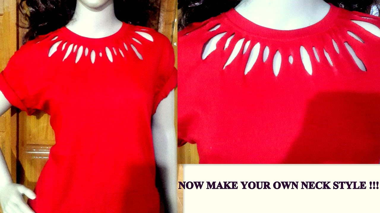 how to cut t shirt neck