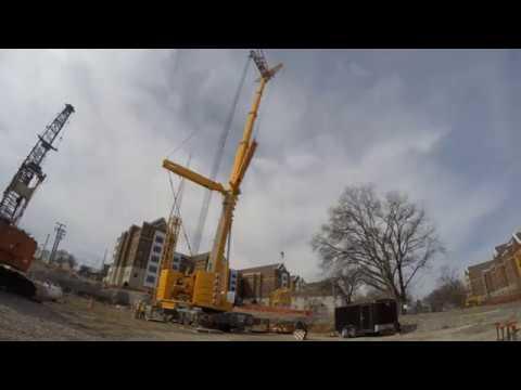 Sterett Crane erects 2 tower cranes in Nashville - YouTube