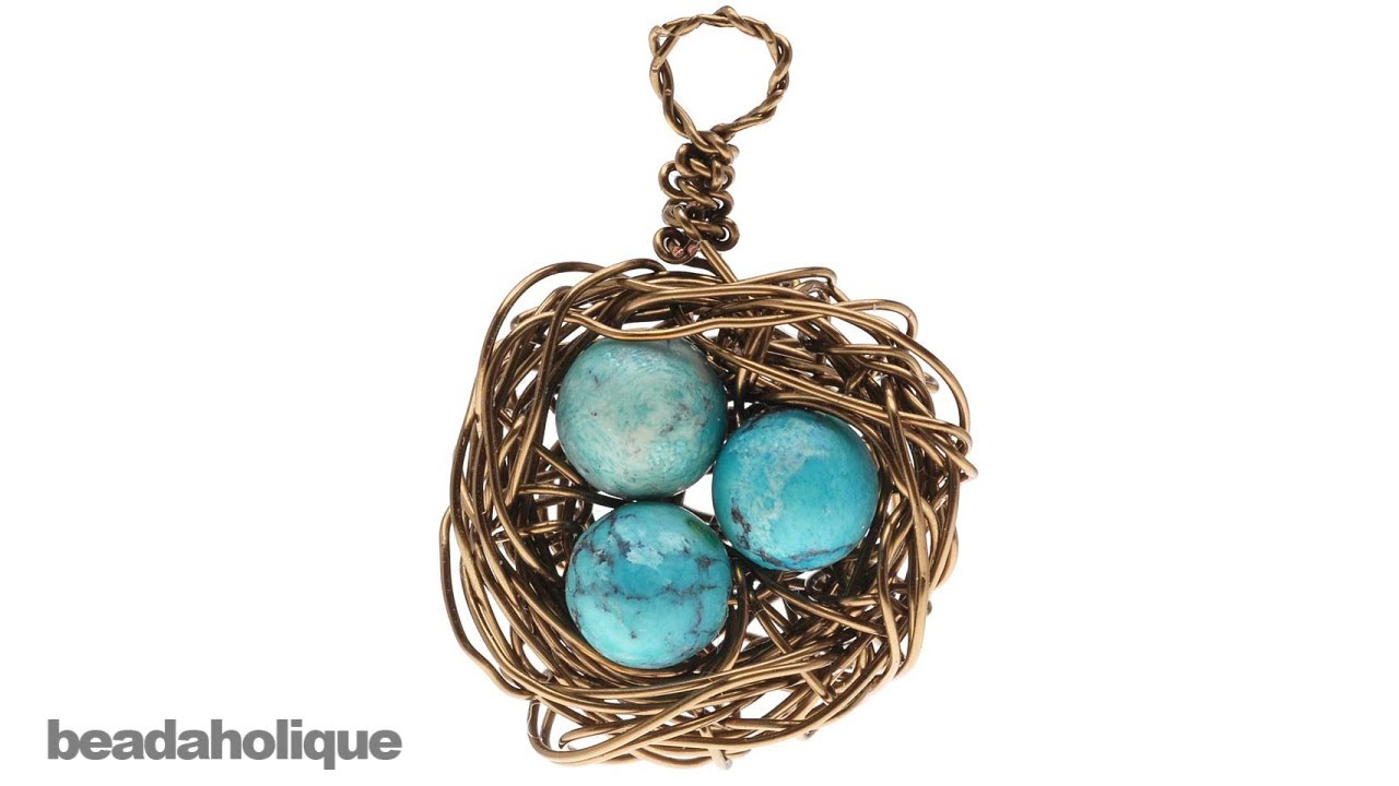 How to Make a Wire Bird\'s Nest Pendant - YouTube