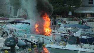 Boat on fire in Hvar marina, June 2011