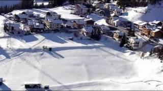 Flight over Austrian Alps village with r/c glider (HD)