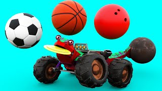 Learn sports with animal lizard : soccer, basketball, bowling - Learning cartoon with Animals