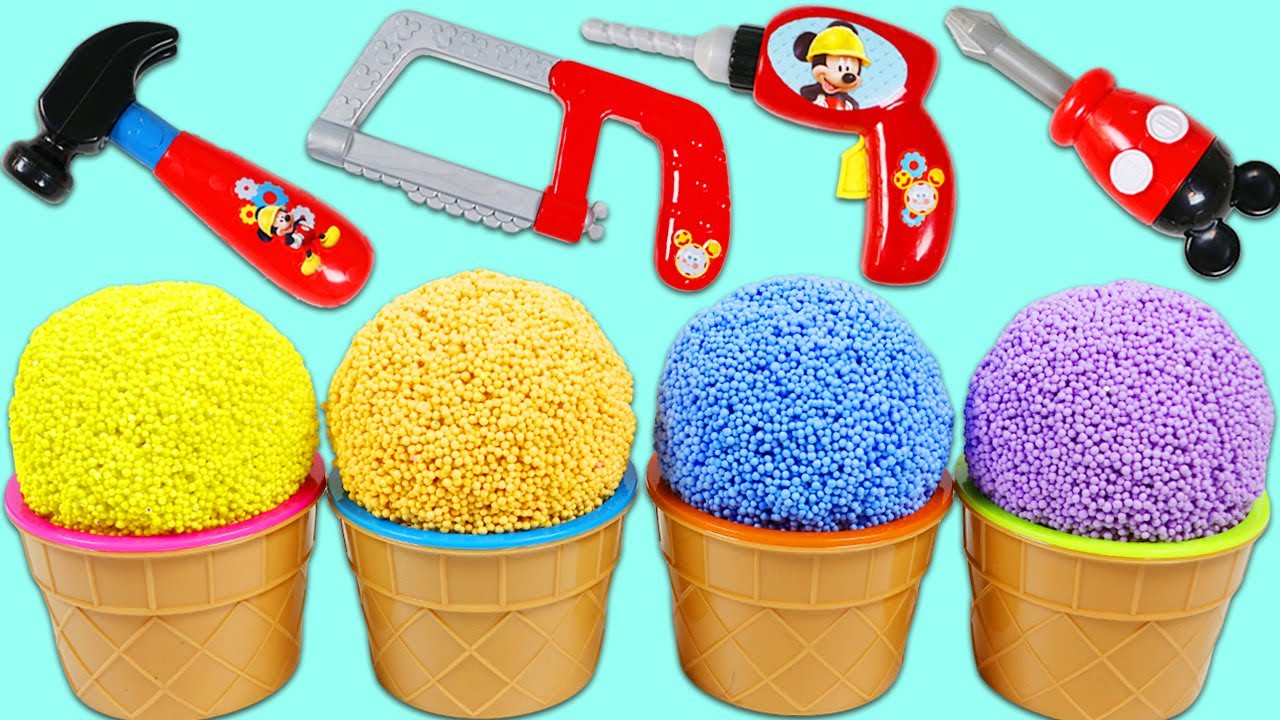 Play Foam Surprise Cups Opening with Disney Mickey Mouse Mousekadoer Tools!