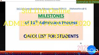 Milestones of 11th admission process, Things to be done by Jr Colleges & Students