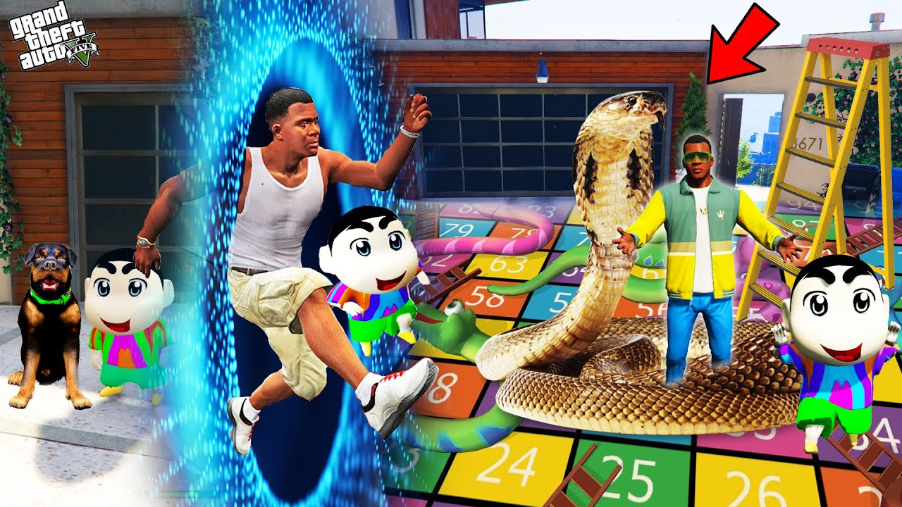 Download GTA 5 : Franklin Jump Through Portal To Go In Ladder Snake World With Shinchan (GTA 5 Mods)