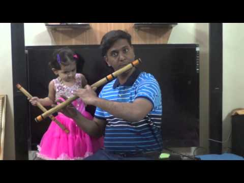 Kevha Tari Pahate on Flute (Bansuri) by Dr. Chetan Dhandore & baby Swara - HD funny baby video