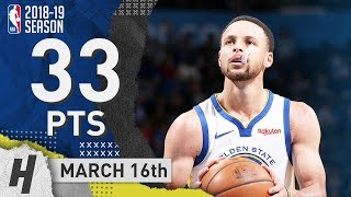 Stephen Curry Full Highlights Warriors vs Thunder 2019.03.16 - 33 Pts, 3 Ast, 7 Reb!