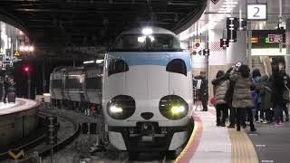 【4K】JR貨物列車 EF66 131号車 信号待ちから発車@287系 特急パンダくろしお94号(臨時列車) ~ Smileアドベンチャートレイン ~ 新大阪駅を入線&出発!!